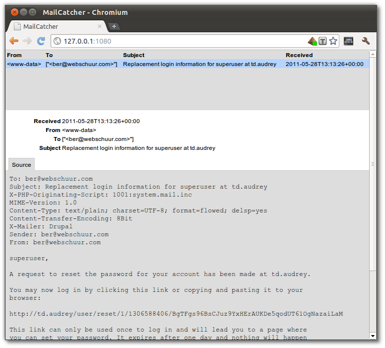 Screenshot of a Drupal password recorvery mail in Mailcatcher